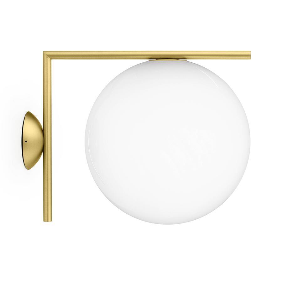 FLOS lampe murale ou au plafond d'extérieur IC C/W2 OUTDOOR (Laiton - Verre soufflé et métal)