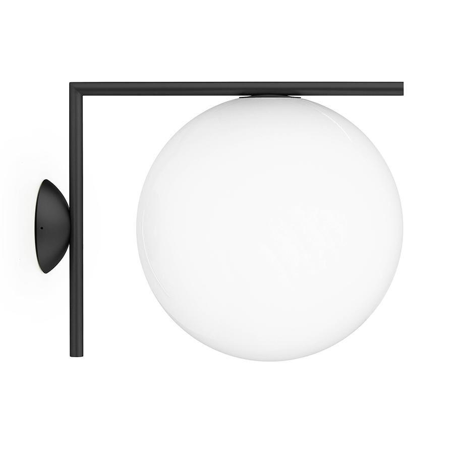 FLOS lampe murale ou au plafond d'extérieur IC C/W2 OUTDOOR (Noir - Verre soufflé et métal)