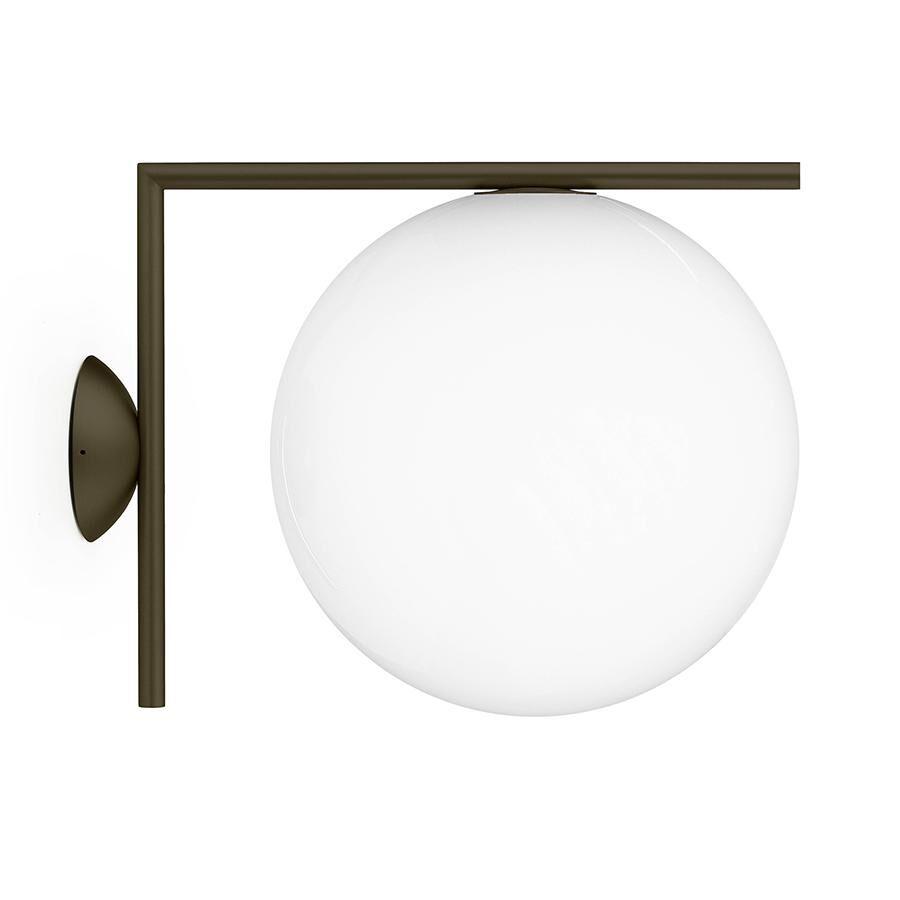 FLOS lampe murale ou au plafond d'extérieur IC C/W2 OUTDOOR (Marron foncé - Verre soufflé et métal)