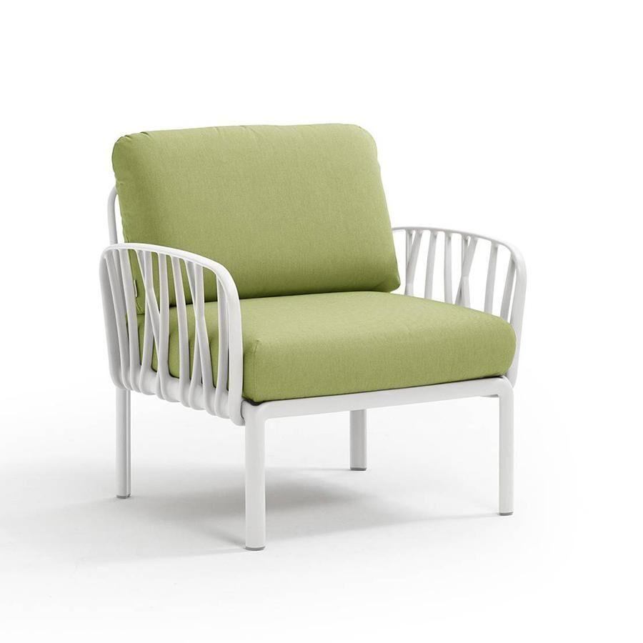 NARDI GARDEN NARDI fauteuil pour l'extérieur KOMODO (Blanc / Avocat - Polypropylène fibre de verre et tissu Sunbrella)