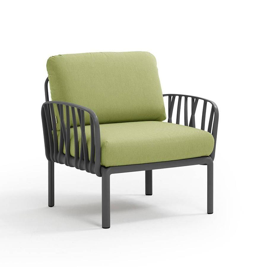 NARDI GARDEN NARDI fauteuil pour l'extérieur KOMODO (Anthracite / Avocat - Polypropylène fibre de verre et tissu Sunbrella)