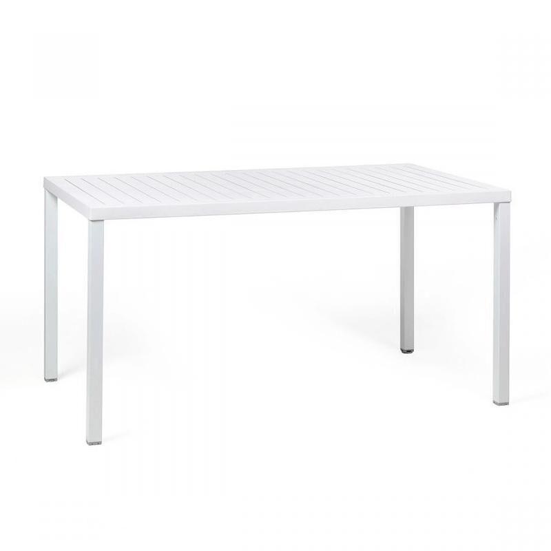 NARDI GARDEN NARDI table rectangulaire pour extérieur CUBE 140x80 cm (Blanc - Plateau en DurelTOP / Pieds en aluminium verni)