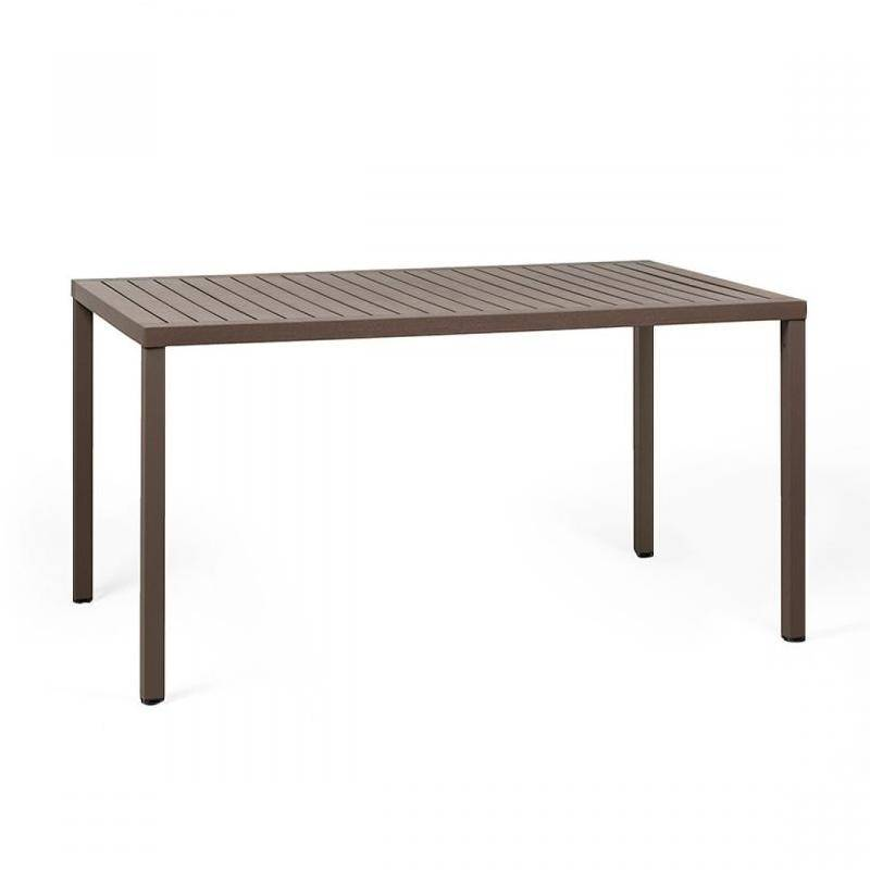 NARDI GARDEN NARDI table rectangulaire pour extérieur CUBE 140x80 cm (Café - Plateau en DurelTOP / Pieds en aluminium verni)