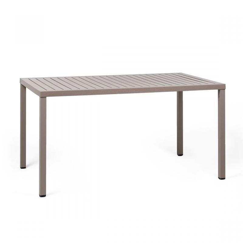 NARDI GARDEN NARDI table rectangulaire pour extérieur CUBE 140x80 cm (Gris tourterelle - Plateau en DurelTOP / Pieds en aluminium verni)