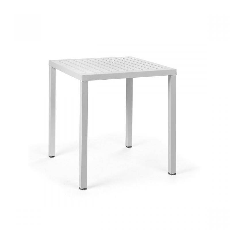 NARDI GARDEN NARDI table carré pour extérieur CUBE 70x70 cm (Blanc - Plateau en DurelTOP / Pieds en aluminium verni)
