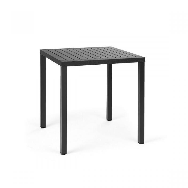 NARDI GARDEN NARDI table carré pour extérieur CUBE 70x70 cm (Anthracite - Plateau en DurelTOP / Pieds en aluminium verni)