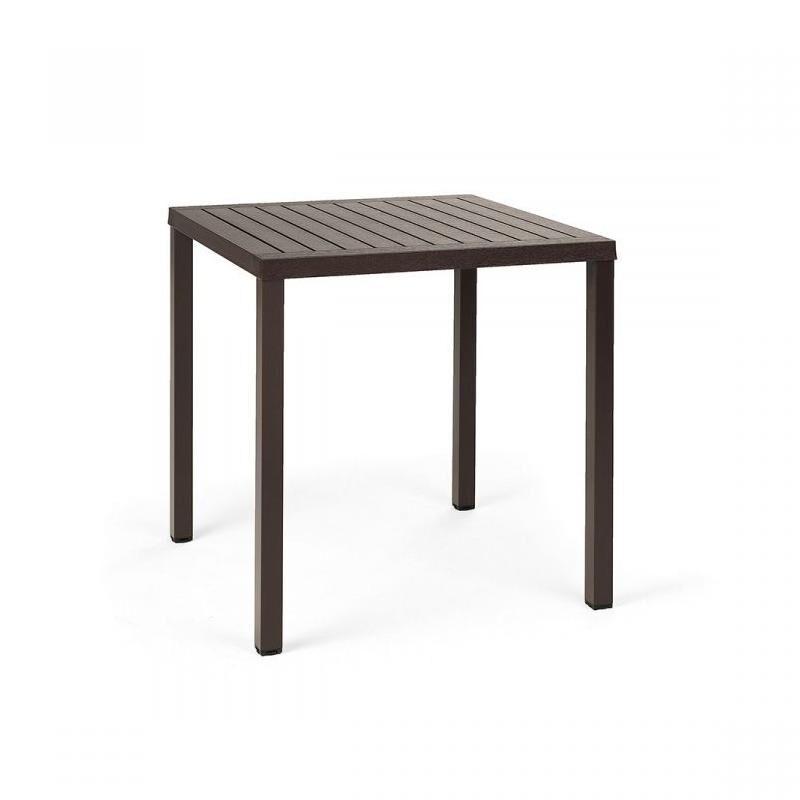 NARDI GARDEN NARDI table carré pour extérieur CUBE 70x70 cm (Café - Plateau en DurelTOP / Pieds en aluminium verni)