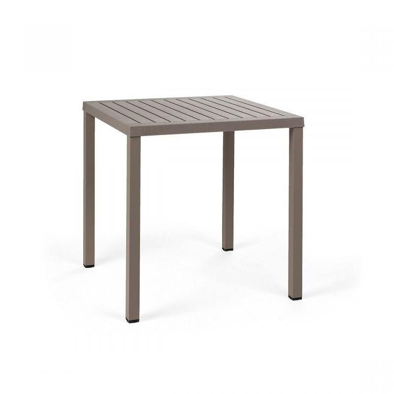 NARDI GARDEN NARDI table carré pour extérieur CUBE 70x70 cm (Gris tourterelle - Plateau en DurelTOP / Pieds en aluminium verni)