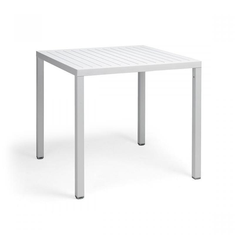 NARDI GARDEN NARDI table carré pour extérieur CUBE 80x80 cm (Blanc - Plateau en DurelTOP / Pieds en aluminium verni)