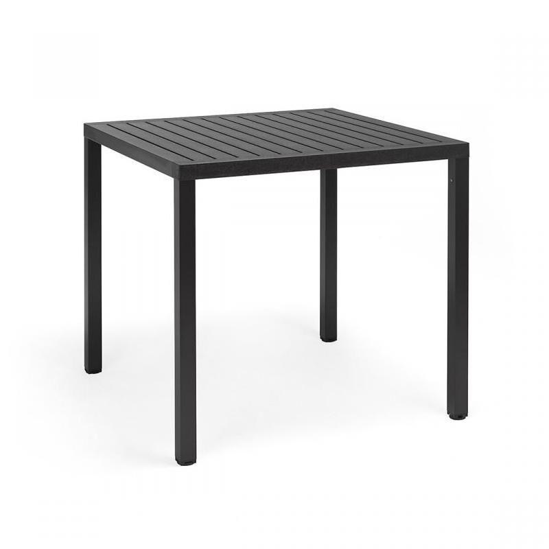NARDI GARDEN NARDI table carré pour extérieur CUBE 80x80 cm (Anthracite - Plateau en DurelTOP / Pieds en aluminium verni)