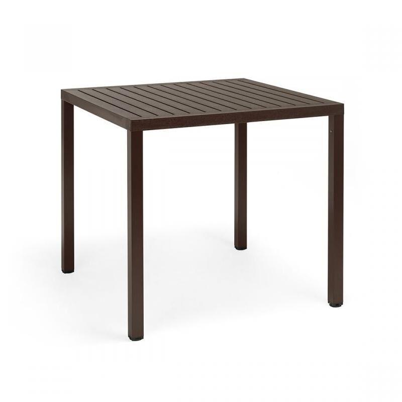 NARDI GARDEN NARDI table carré pour extérieur CUBE 80x80 cm (Café - Plateau en DurelTOP / Pieds en aluminium verni)