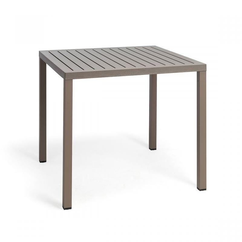 NARDI GARDEN NARDI table carré pour extérieur CUBE 80x80 cm (Gris tourterelle - Plateau en DurelTOP / Pieds en aluminium verni)