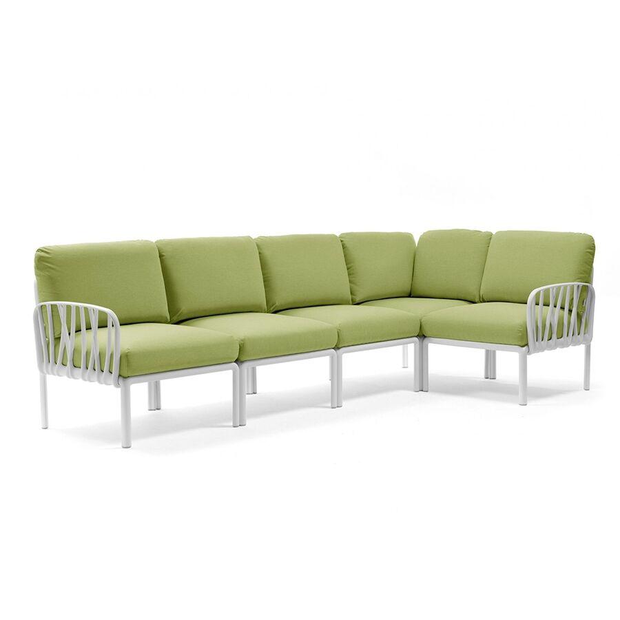 NARDI GARDEN NARDI canapé pour extérieur KOMODO 5 (Blanc / Avocat - Polypropylène fibre de verre et tissu Sunbrella)