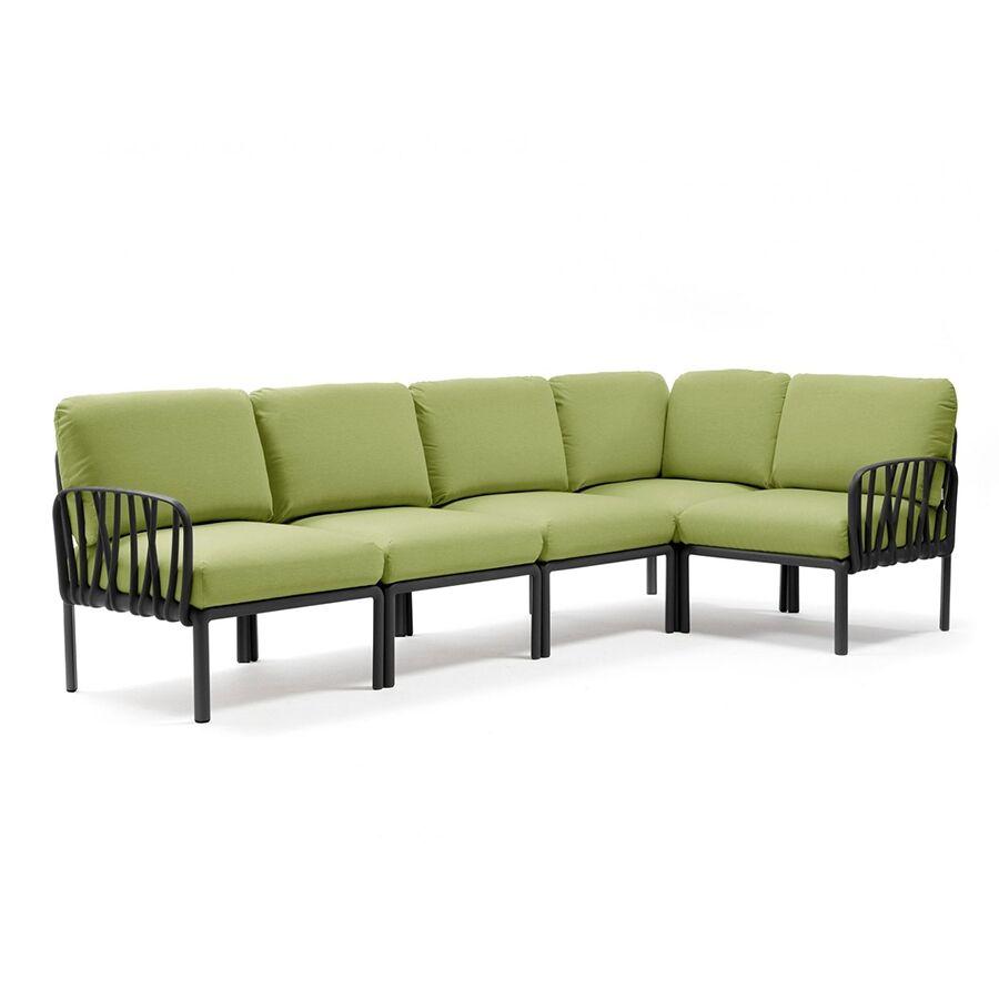 NARDI GARDEN NARDI canapé pour extérieur KOMODO 5 (Anthracite / Avocat - Polypropylène fibre de verre et tissu Sunbrella)