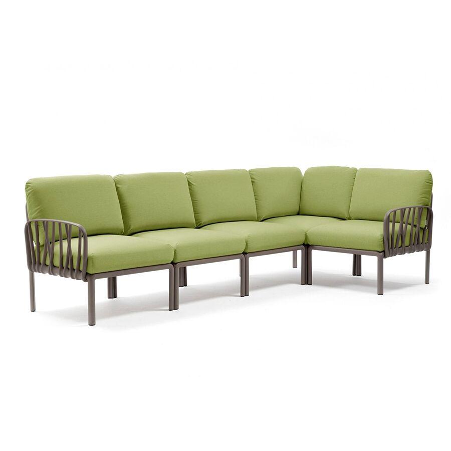 NARDI GARDEN NARDI canapé pour extérieur KOMODO 5 (Tortourelle / Avocat - Polypropylène fibre de verre et tissu Sunbrella)