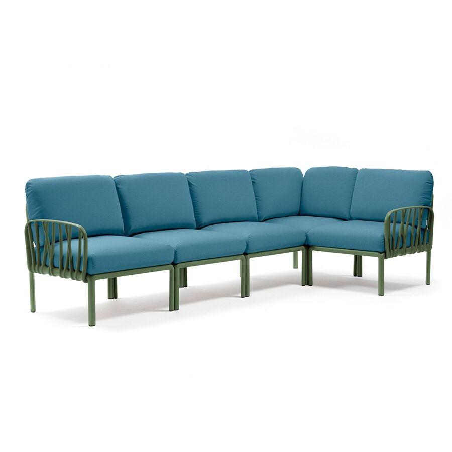 NARDI GARDEN NARDI canapé pour extérieur KOMODO 5 (Agave / Adriatic - Polypropylène fibre de verre et tissu Sunbrella)