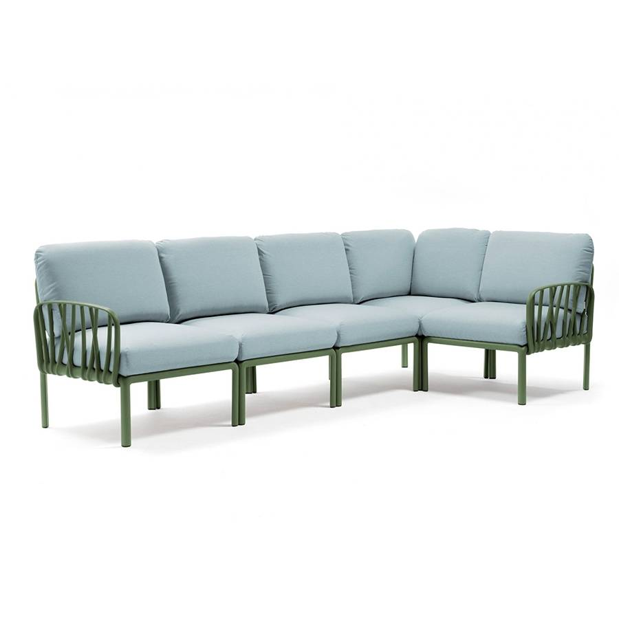 NARDI GARDEN NARDI canapé pour extérieur KOMODO 5 (Agave / Glace - Polypropylène fibre de verre et tissu Sunbrella)