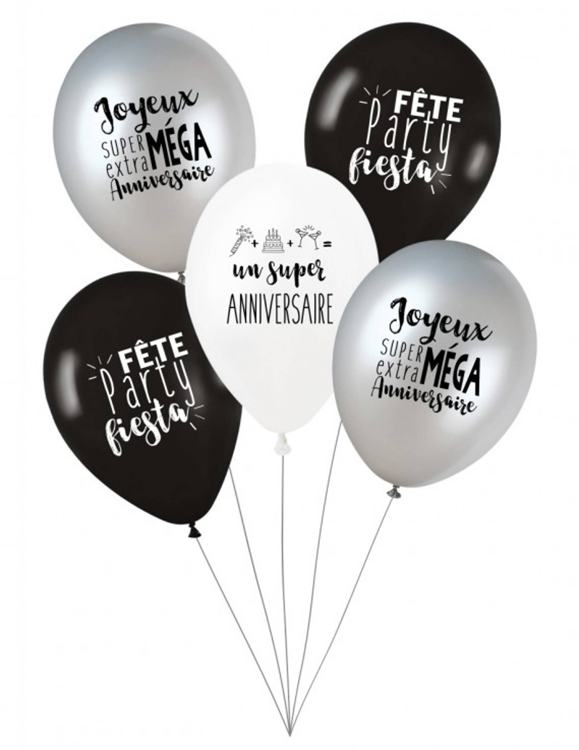 Deguisetoi 5 Ballons latex biodégradable Party anniversaire27 cm