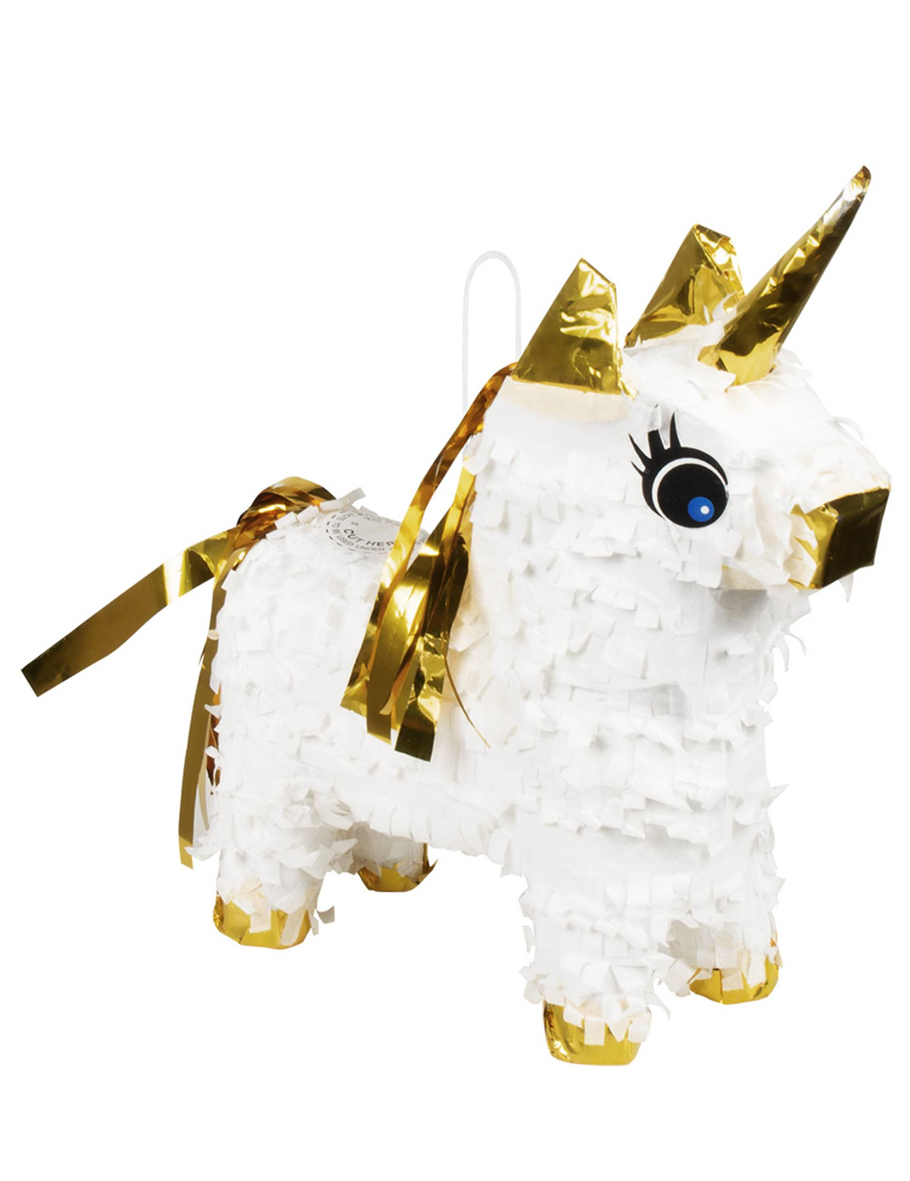 Deguisetoi Mini piñata licorne blanc et or 21 x 17 cm