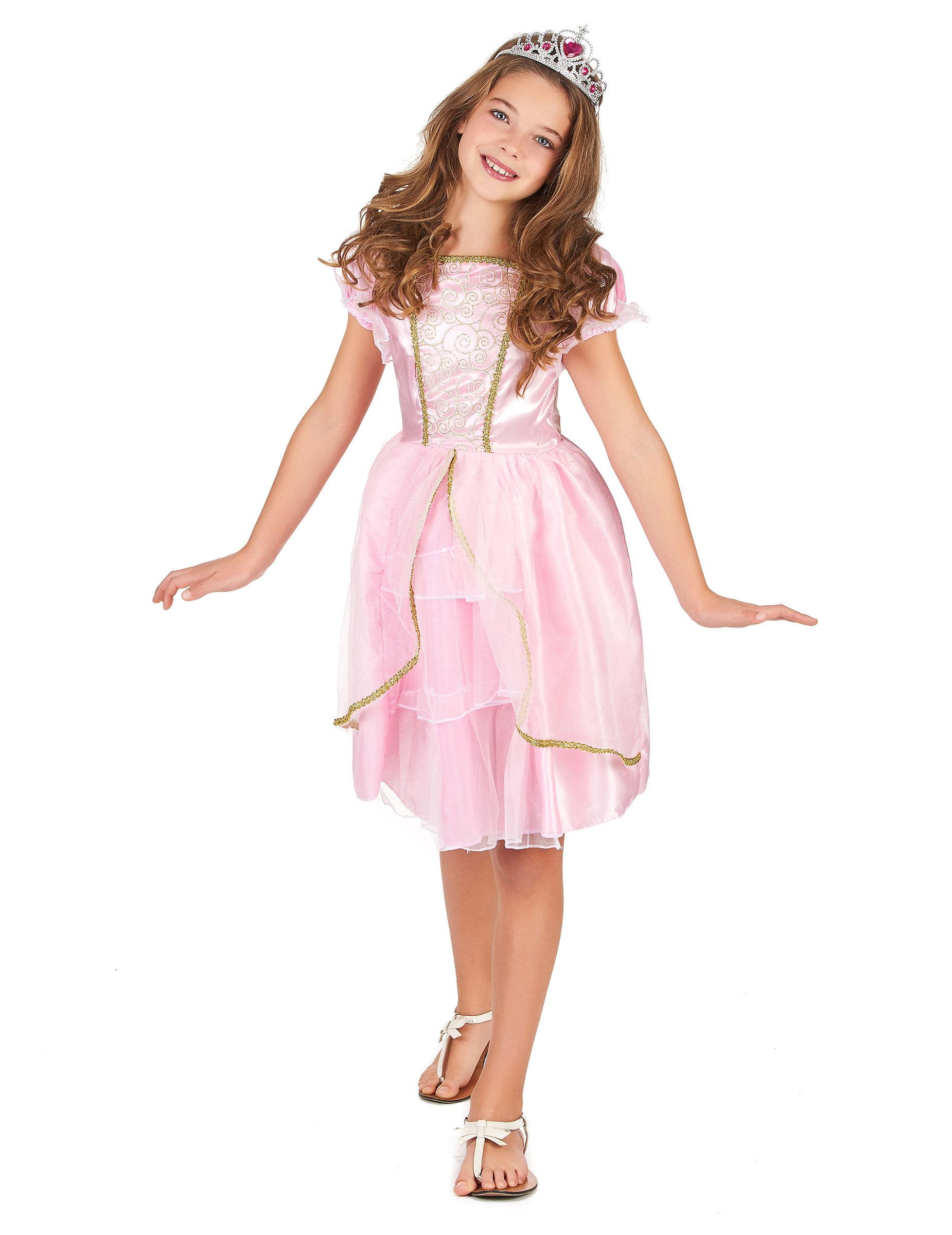 Deguisetoi Déguisement princesse rose à paillettes fille - Taille: M 7-9 ans (120-130 cm)