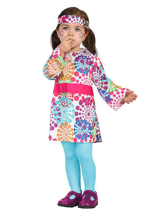 Deguisetoi Déguisement hippie robe multicolore à pois bébé - Taille: 6 à 12 mois