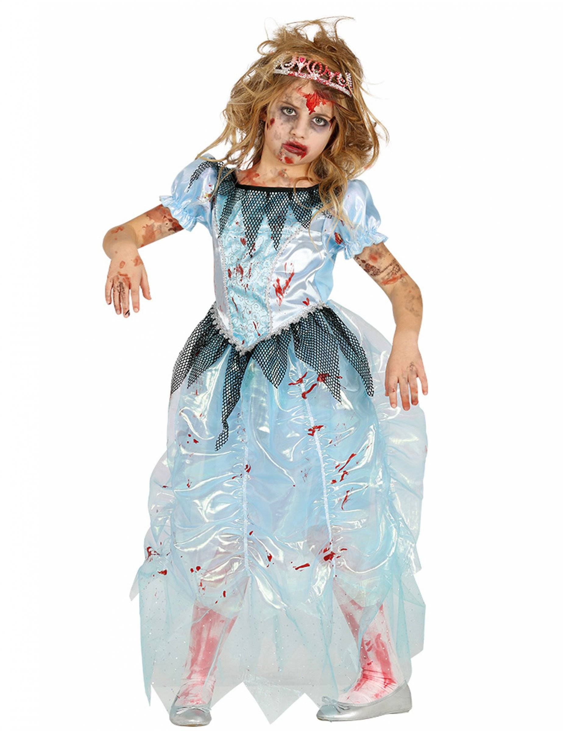 Deguisetoi Déguisement zombie princesse bleue fille Halloween - Taille: 3 à 4 ans (95-105 cm)