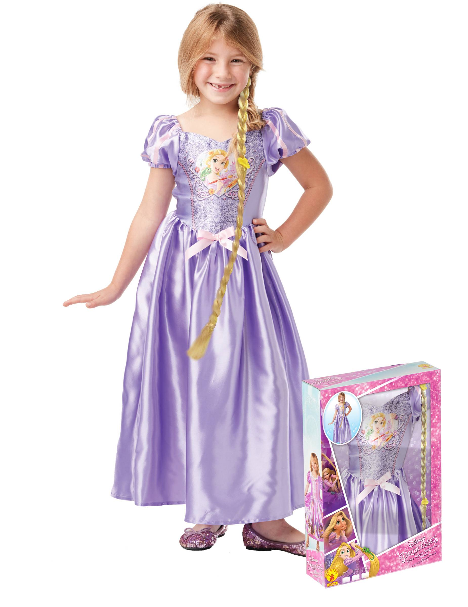 Deguisetoi Coffret princesse Raiponce avec sequins et tresses fille - Taille: 5 à 6 ans (105 à 116 cm)
