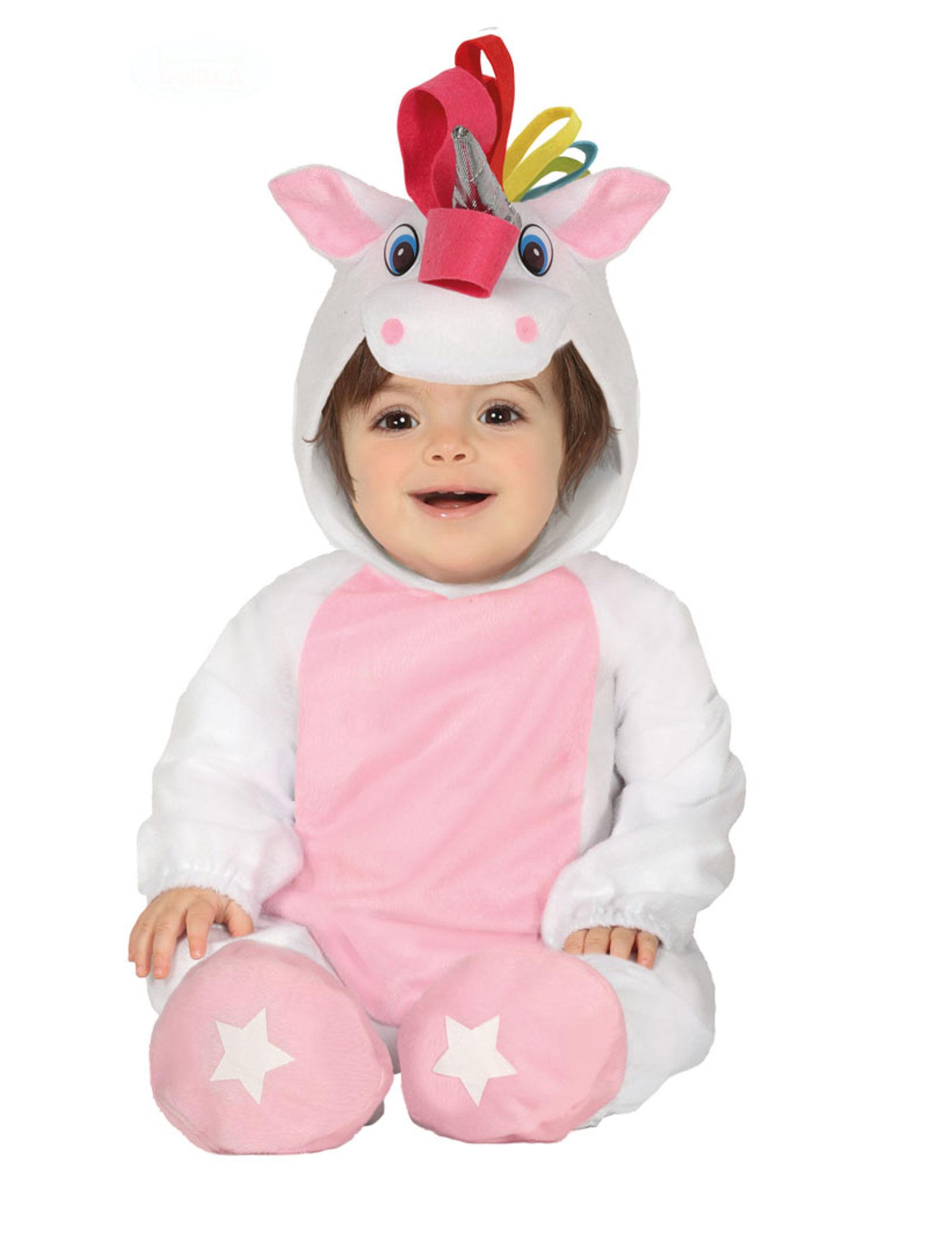Deguisetoi Déguisement combinaison avec capuche licorne blanche bébé - Taille: 6 à 12 mois (82-83 cm)