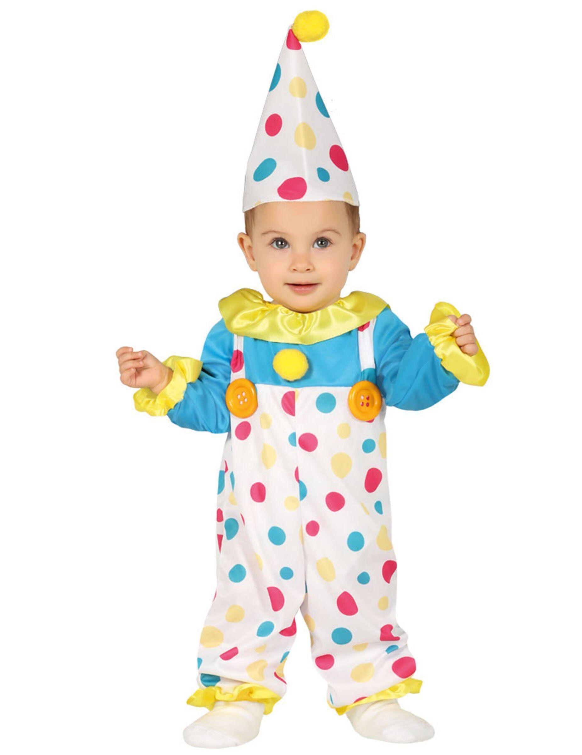 Deguisetoi Déguisement combinaison clown à pois pastel bébé - Taille: 6 à 12 mois (82-83 cm)