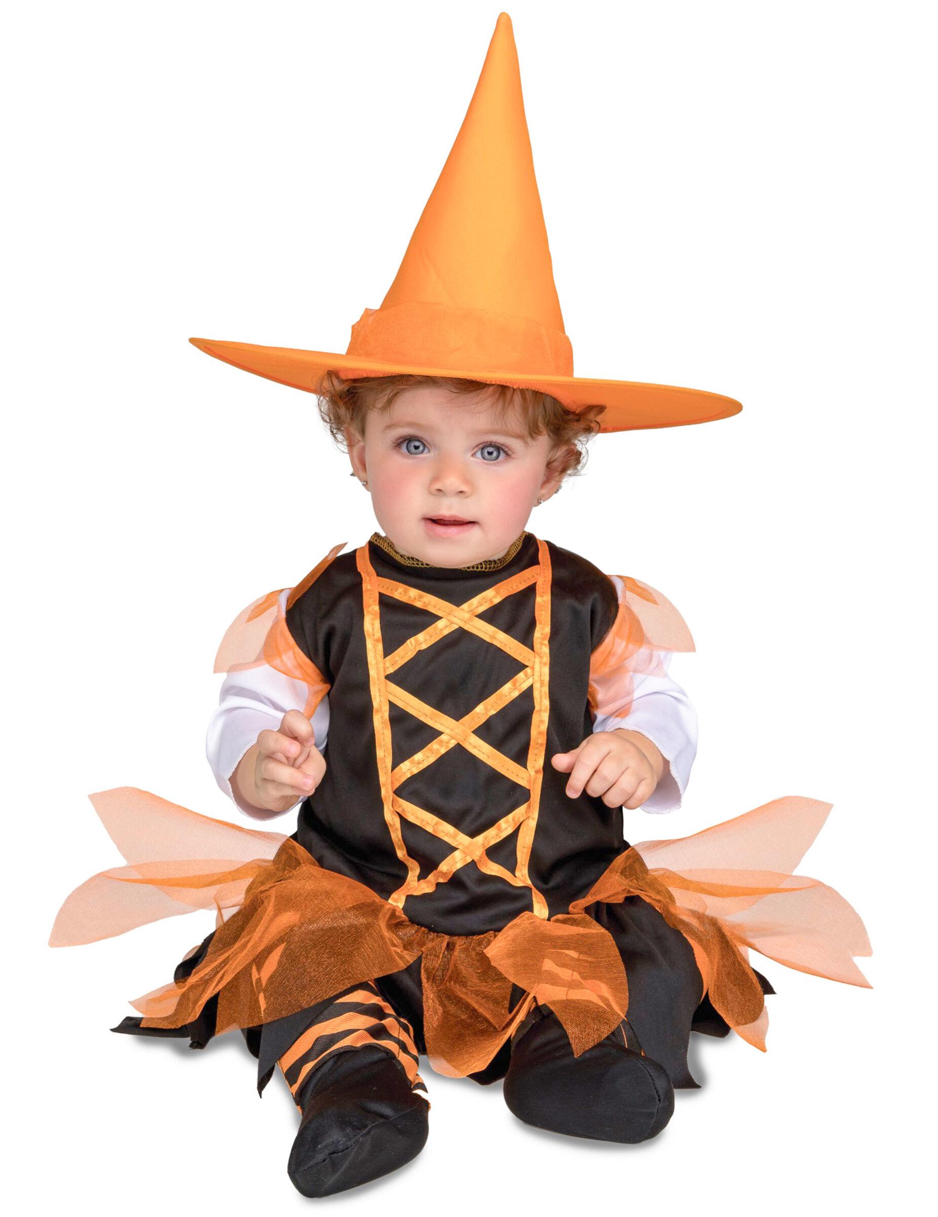 Deguisetoi Déguisement petite sorcière orange bébé - Taille: 7 - 12 mois (74 - 80 cm)