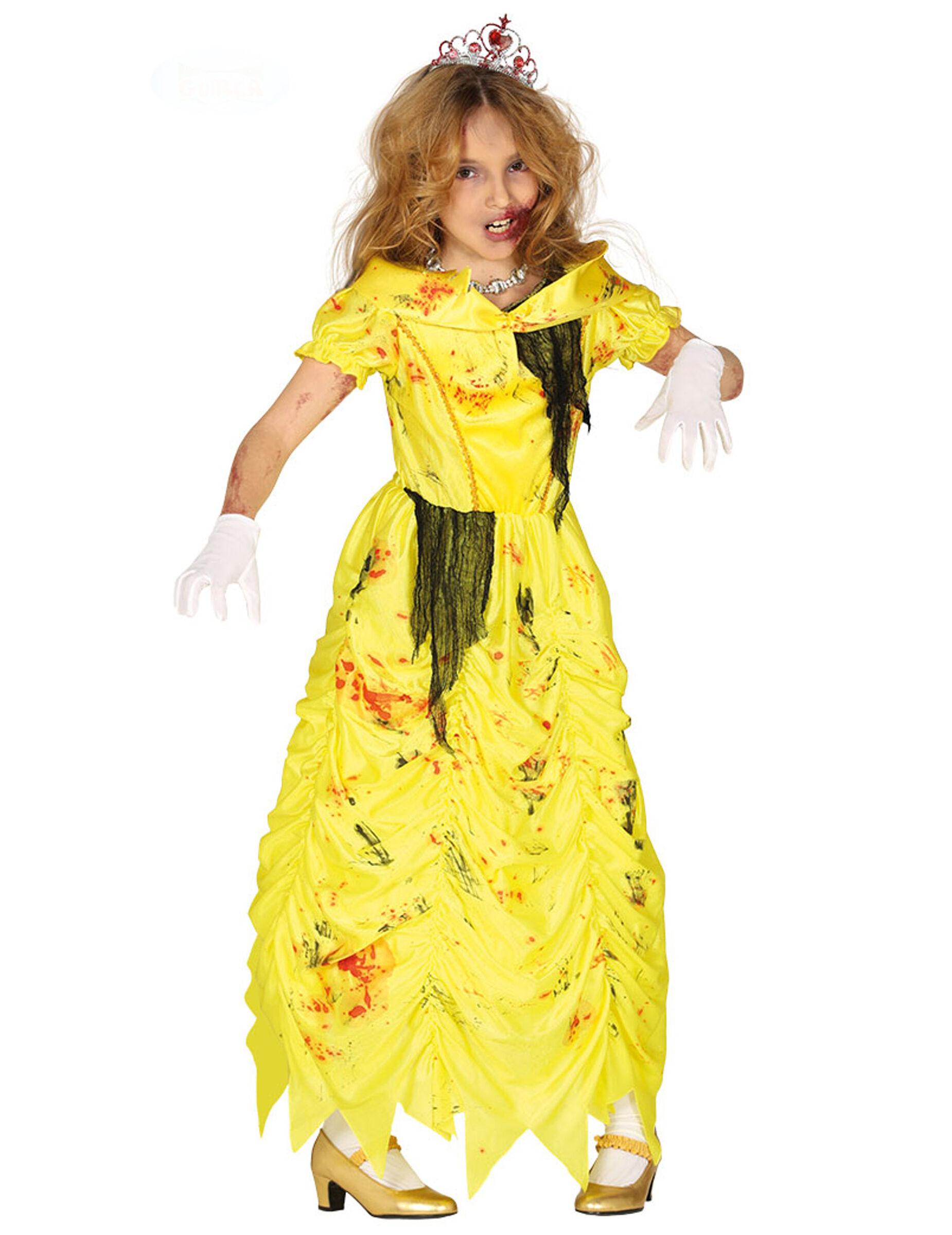 Deguisetoi Déguisement princesse zombie jaune fille - Taille: 7 à 9 ans (125-135 cm)