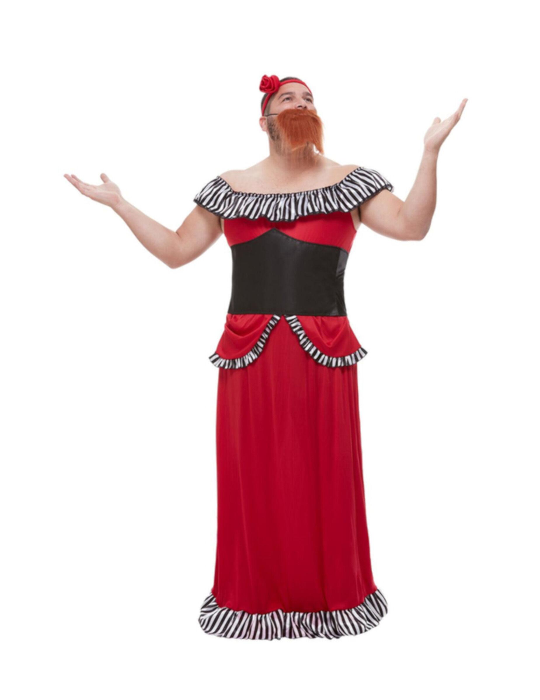 Deguisetoi Déguisement femme à barbe rouge homme - Taille: L