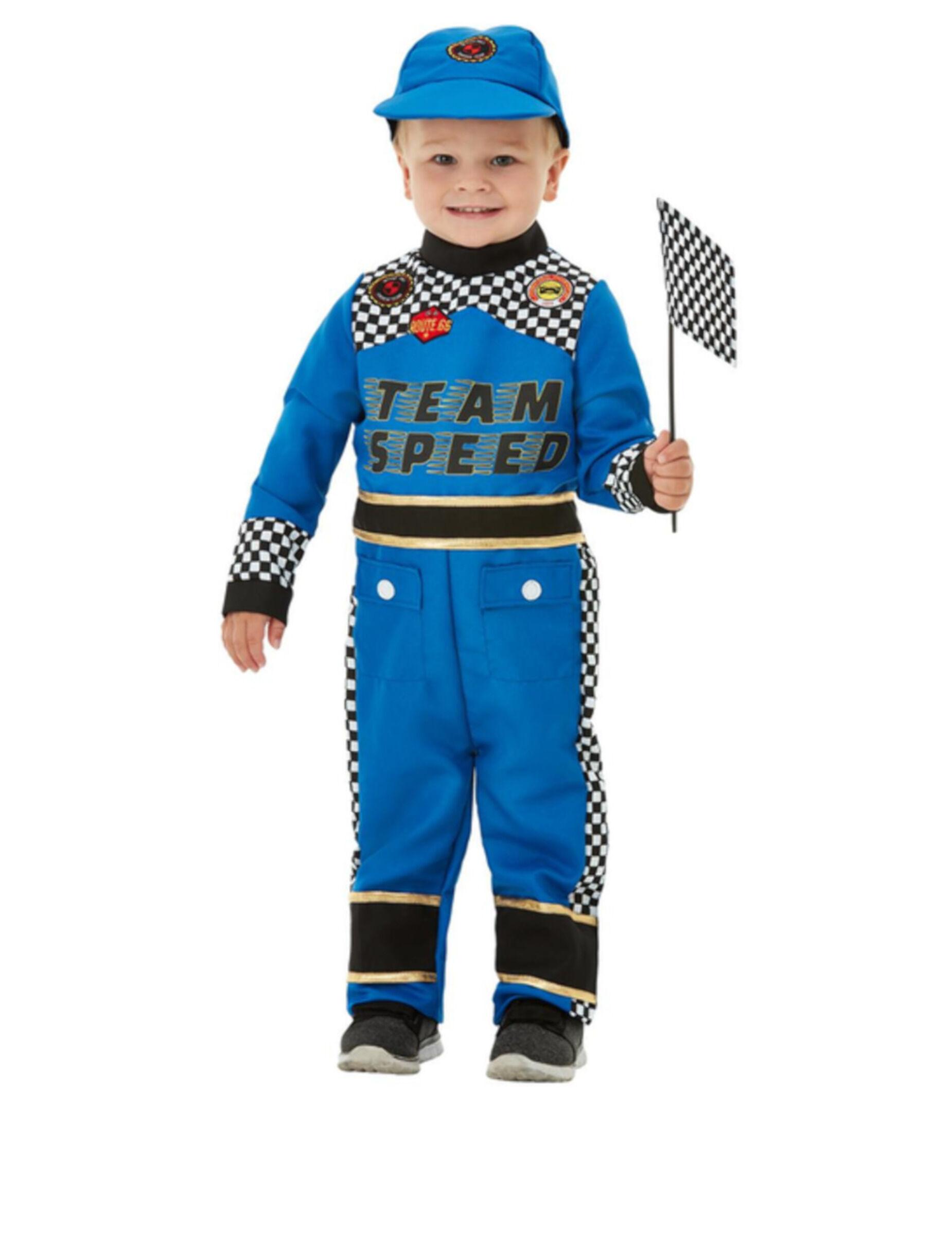 Deguisetoi Déguisement pilote de voiture de course bleu bébé - Taille: 1-2 ans (84/89 cm)