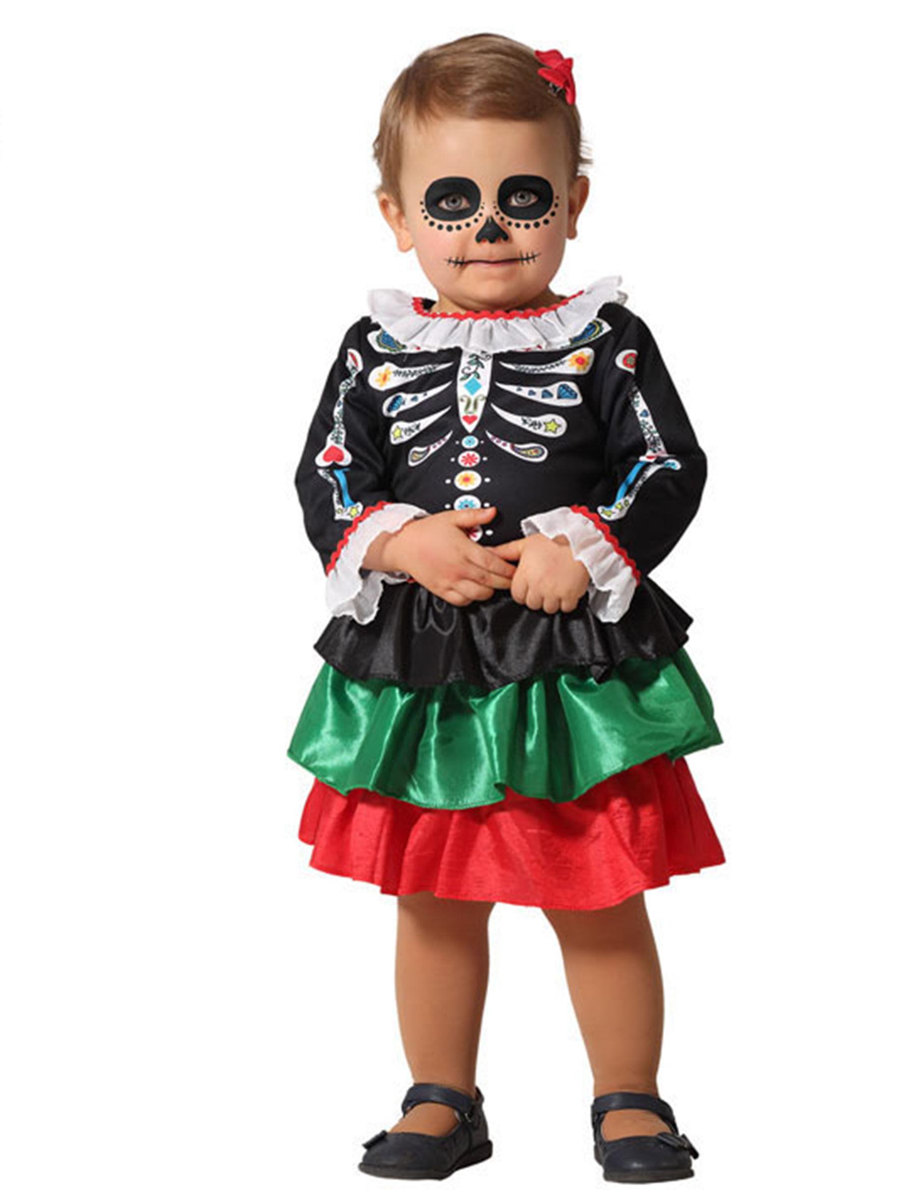 Deguisetoi Déguisement squelette Dia de los muertos bébé fille - Taille: 12-24 mois (88 cm)