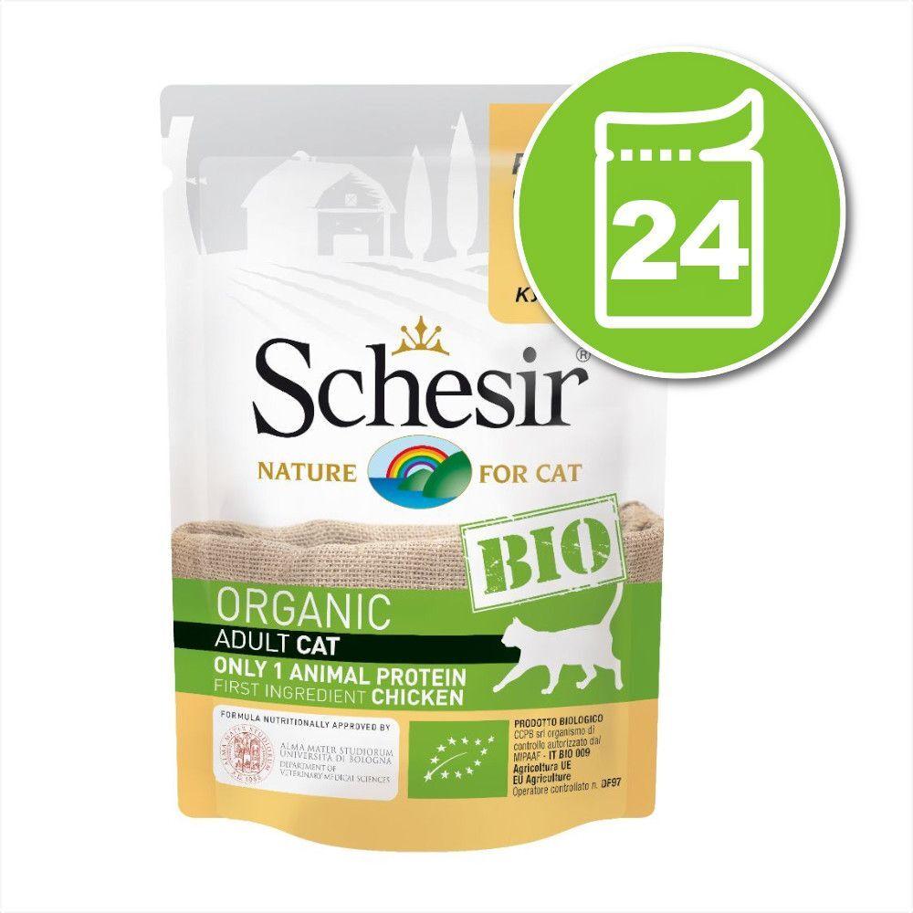 Schesir 24x85g Schesir Bio bœuf bio, poulet bio, pommes bio - Pâtée pour chat