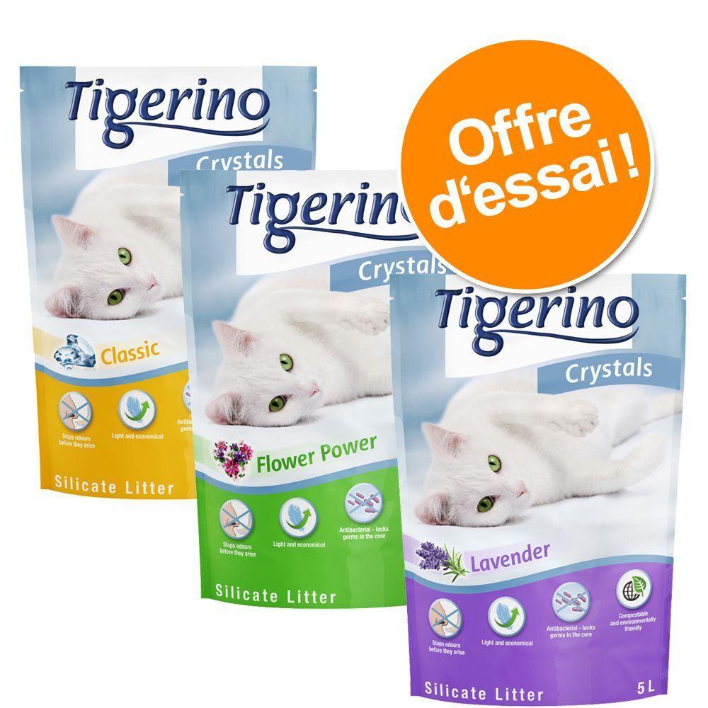 Tigerino Litière (6x5L) Tigerino Crystals lot mixte: Classique, Floral, lavandre, Aloe vera