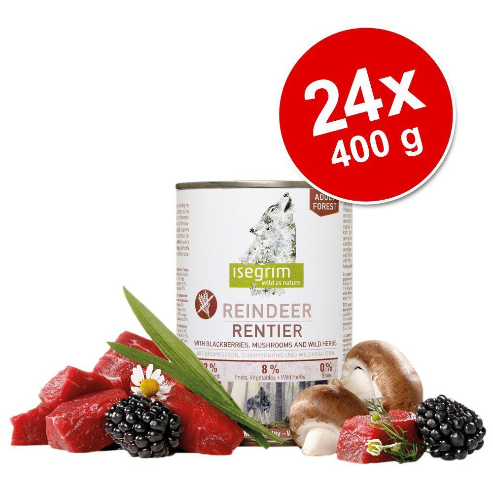 Isegrim 24x400g Adult saumon, millet, myrtilles, herbes sauvages Isegrim - Nourriture pour chien