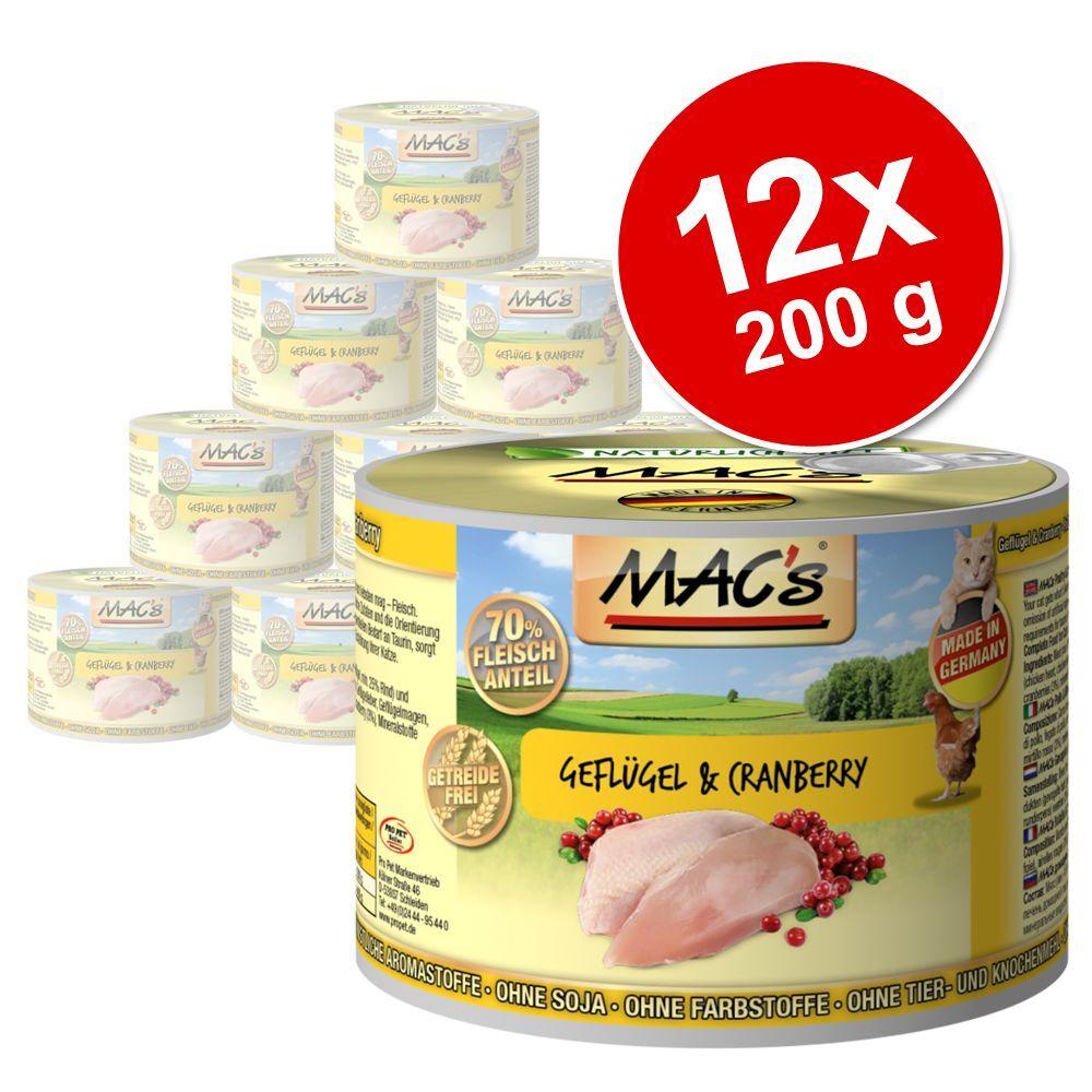 MAC's 12x200g lot canard / dinde & poulet / saumon & poulet MAC's - Nourriture pour Chat