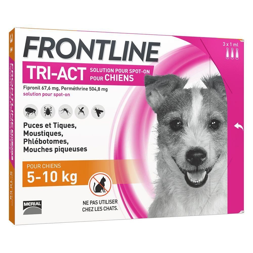 FRONTLINE TRI-ACT Chien, 5 - 10 kg - 12 mois de protection (2 x 6 pipettes)