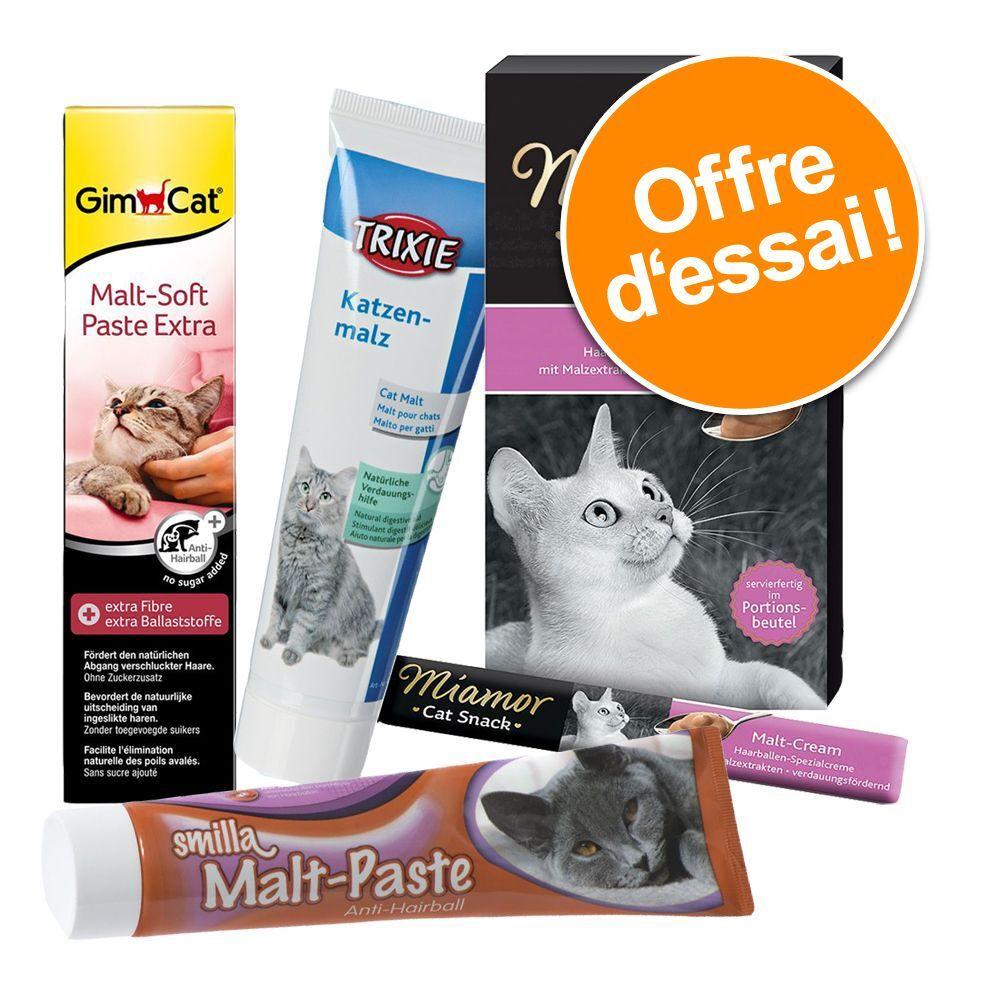GimCat Lot mixte de friandises pâtes et crèmes Malt - Friandises pour chat