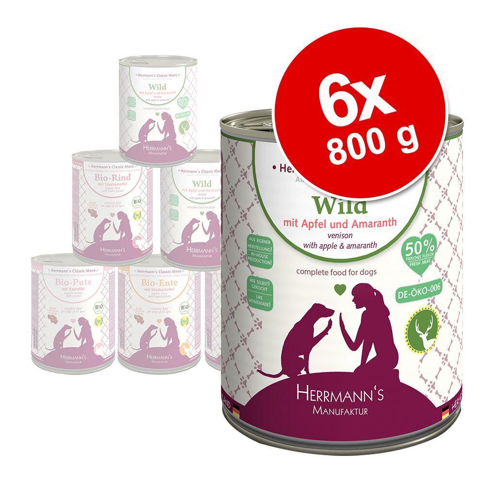 Herrmanns 6x800g Herrmann's Menu Sans céréales bœuf bio, patates douces, potiron - Pâtée pour chien