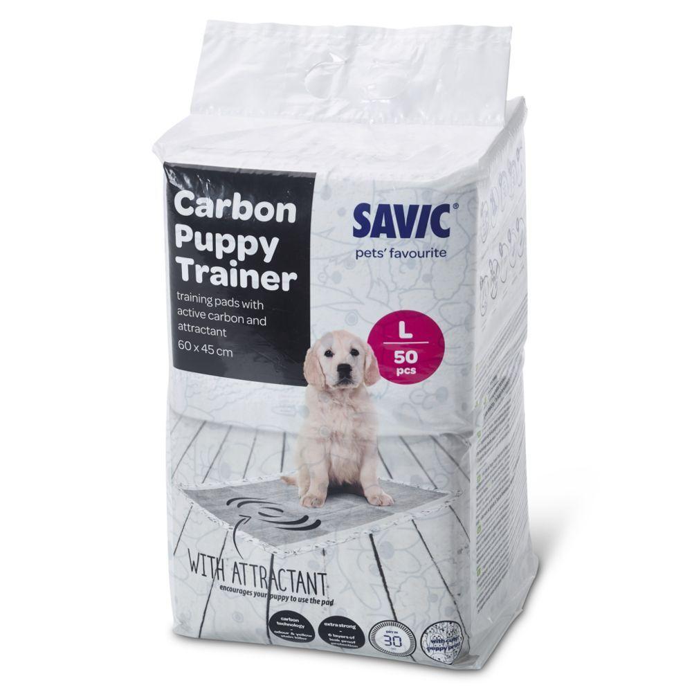 savic Tapis absorbants Savic Puppy Trainer avec charbon actif pour chiot - taille M : L 45 x l 30 cm, 50 tapis