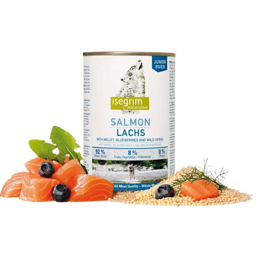 Isegrim 6x400g Junior pour chiot saumon, millet, myrtilles, herbes sauvages Isegrim - Nourriture pour chien