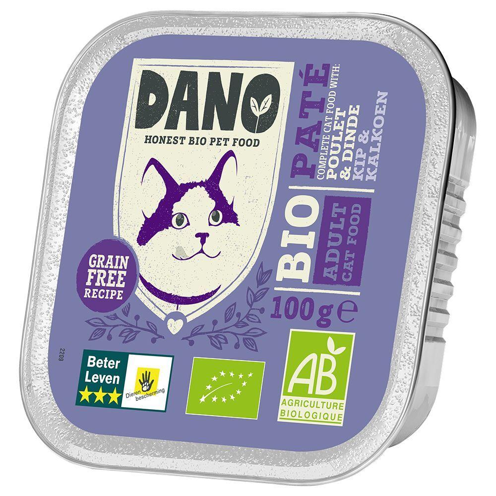 Dano 12x100g DANO Pâté BIO poulet, dinde - Pâtée pour chat