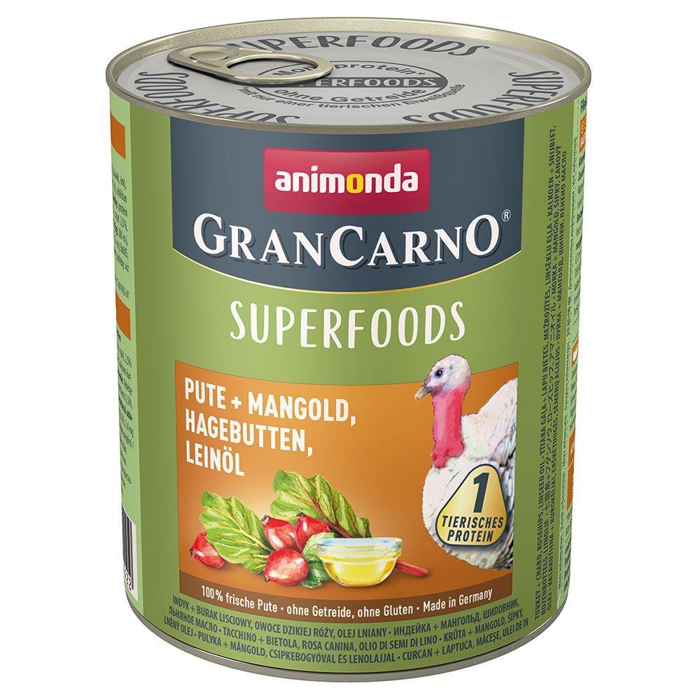 Animonda GranCarno 6x800g Adult Superfoods dinde, blettes, cynorrhodon, huile de lin Animonda GranCarno