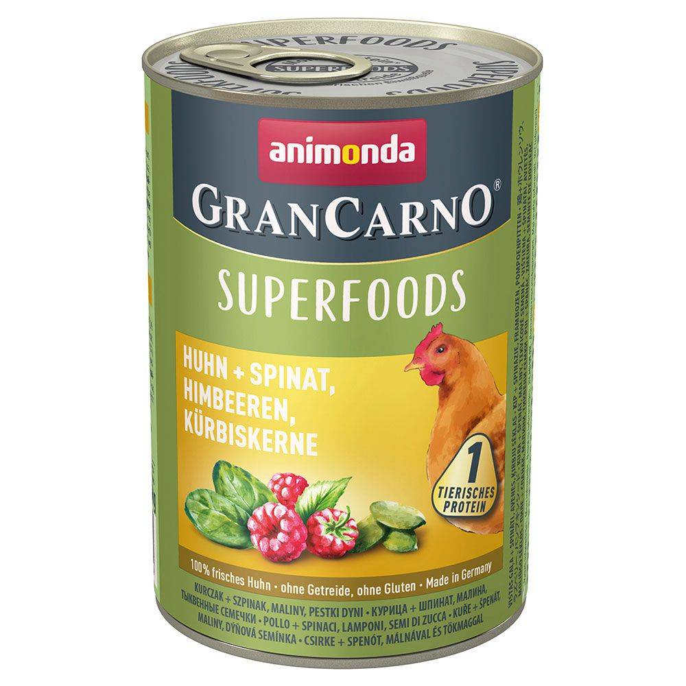 Animonda GranCarno 6x400g Adult Superfoods dinde, blettes, cynorrhodon, huile de lin Animonda GranCarno