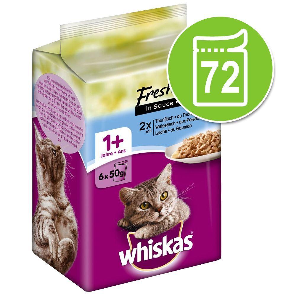 Whiskas 72x50g Les p'tits plats poulet, dinde, volaille en sauce Fresh Menue Whiskas - Nourriture pour Chat