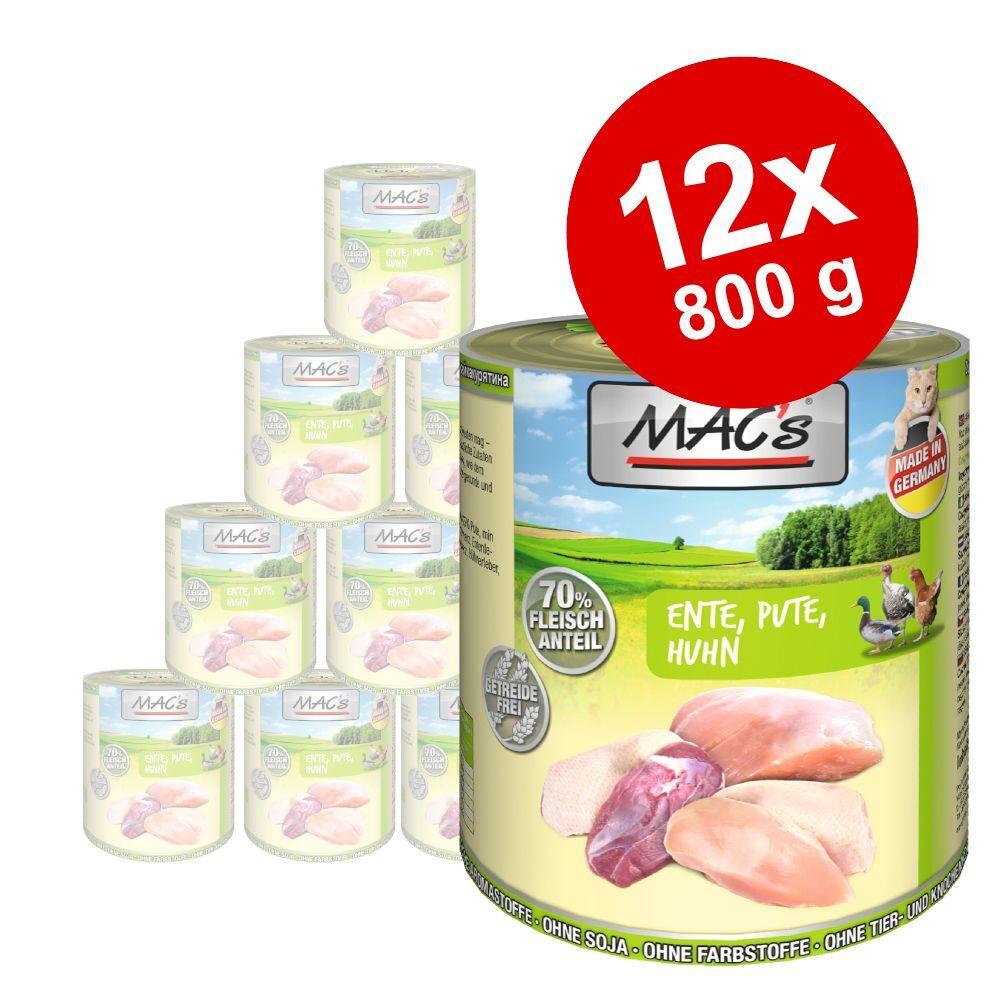 MAC's 12x800g MAC's lot mixte saumon, poulet + canard, dinde, poulet - Pâtée pour chat