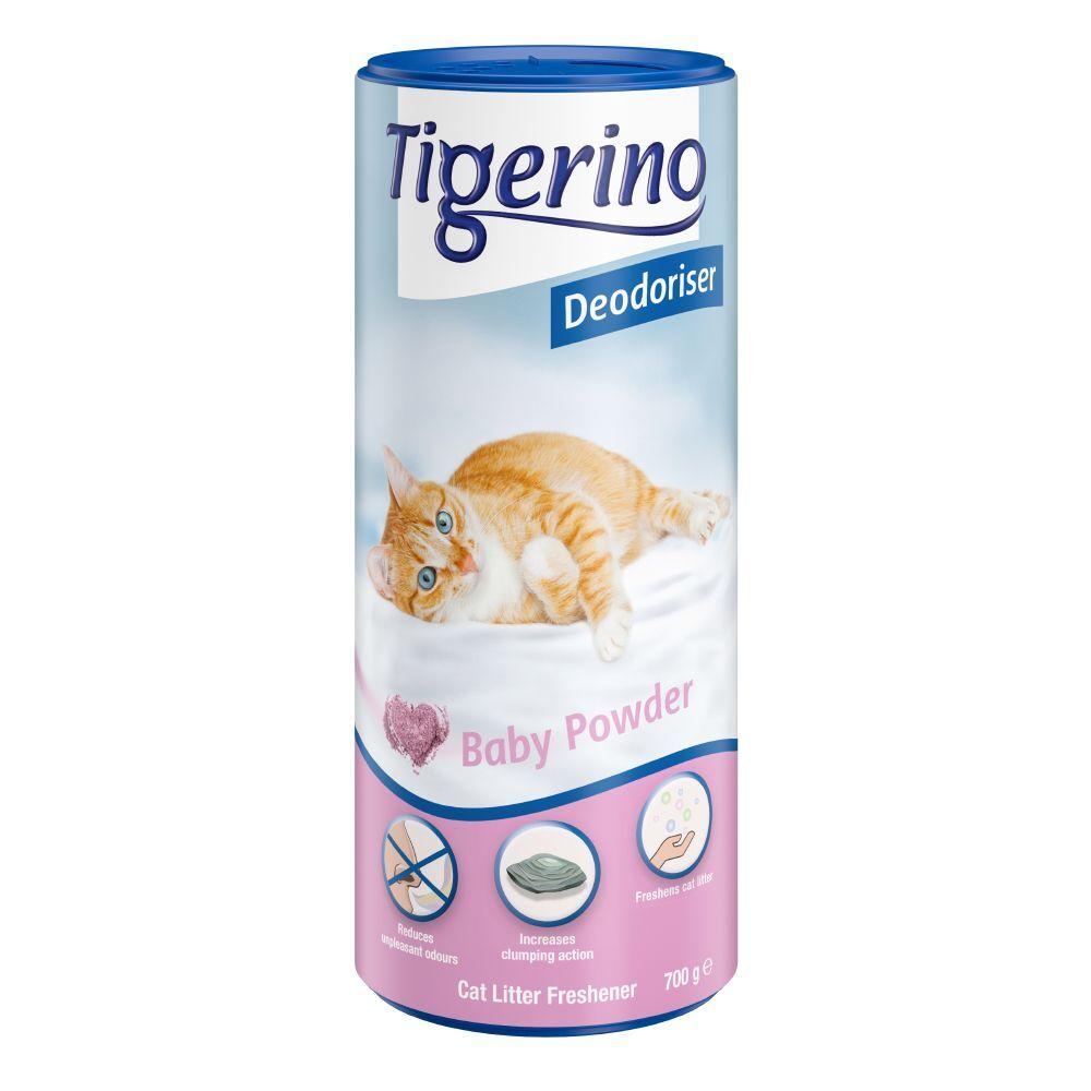 Tigerino 2x700g Désodorisant pour litière Tigerino, parfum talc pour bébé - pour chat