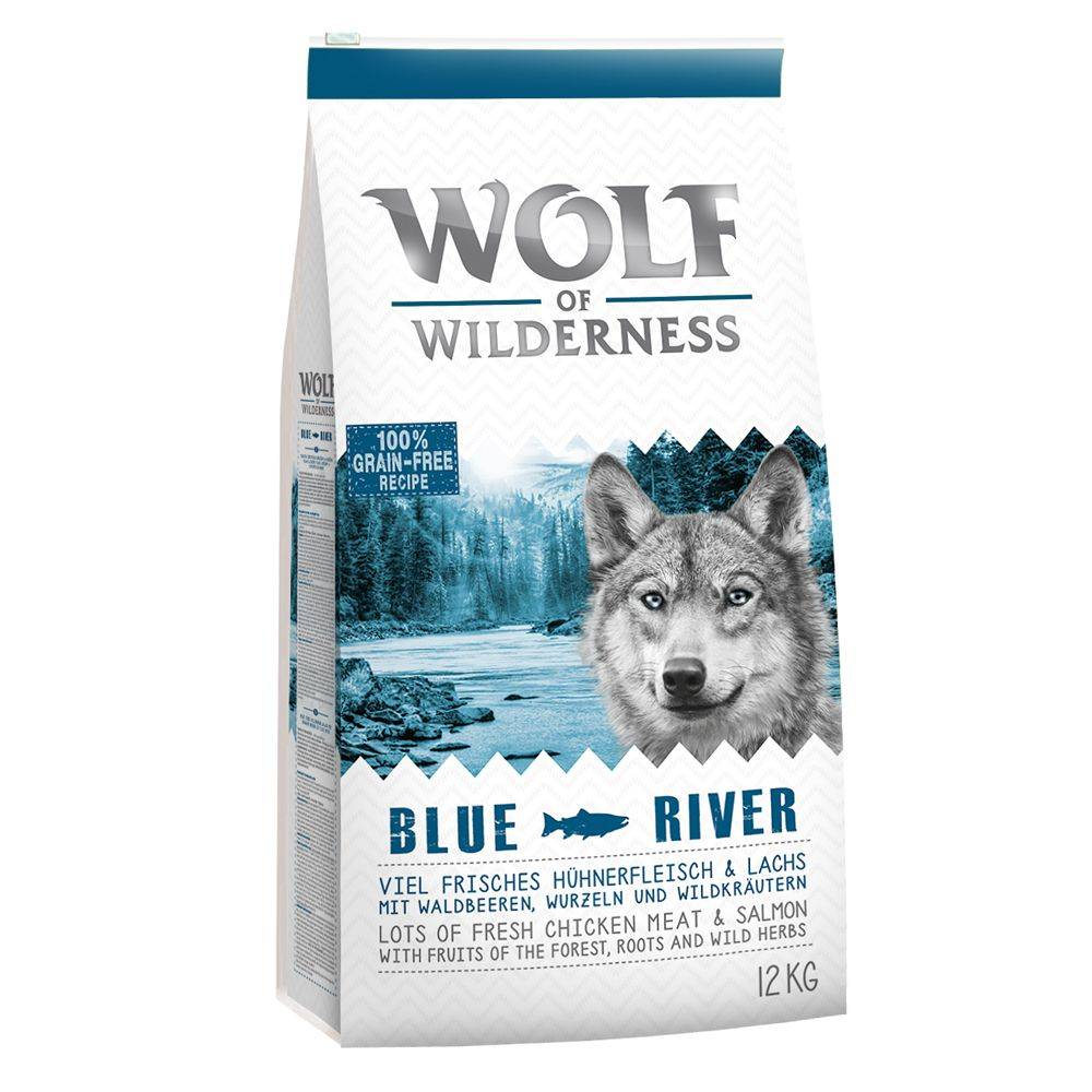 Wolf of Wilderness 5kg saumon sans céréales Croquettes Chien Wolf of Wilderness Blue River
